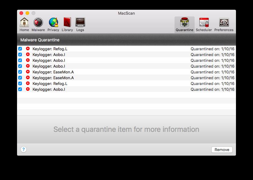 Malware Quarantine Viewer Screen
