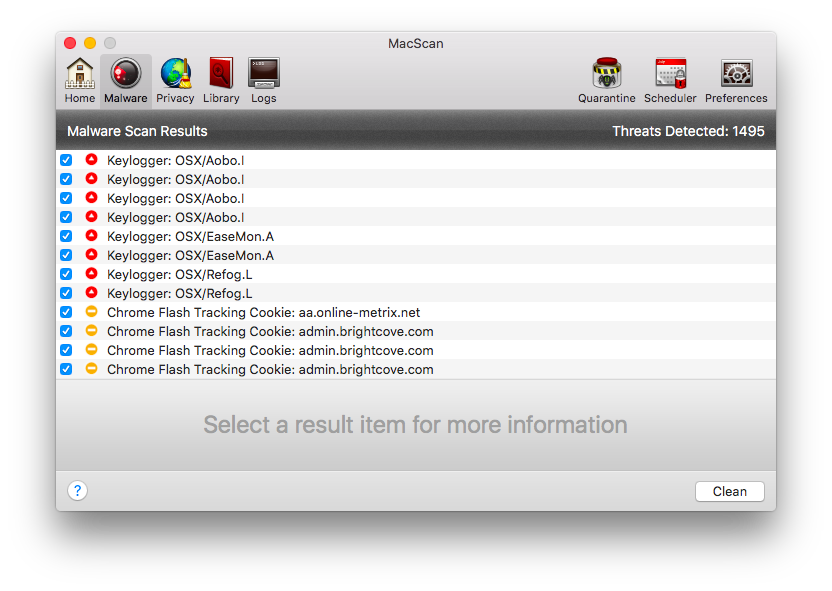 Malware Scan Results Screen