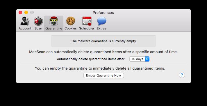 MacScan Preferences: Quarantine
