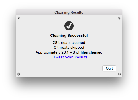 Cleaning Successful