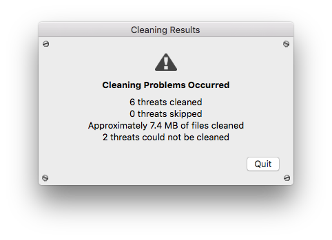 Cleaning Error Occured