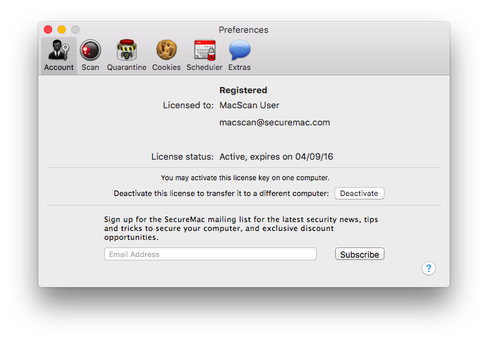 MacScan Preferences: Account