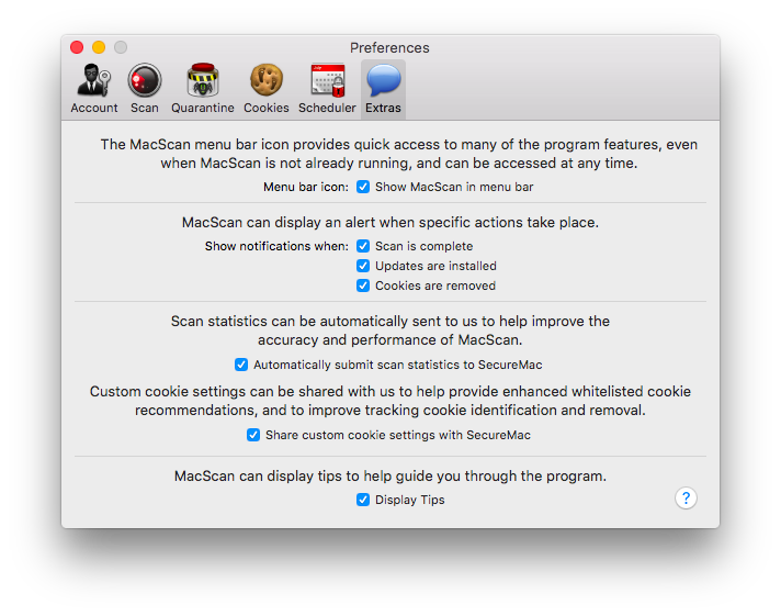 MacScan Preferences: Extras