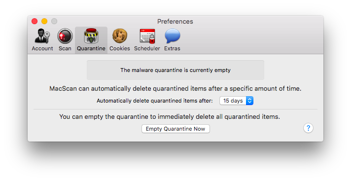 MacScan Preferences: Quarantine