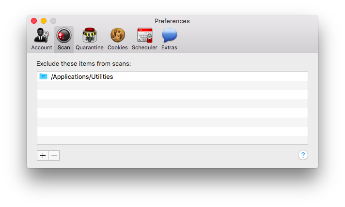 MacScan Preferences: Scan