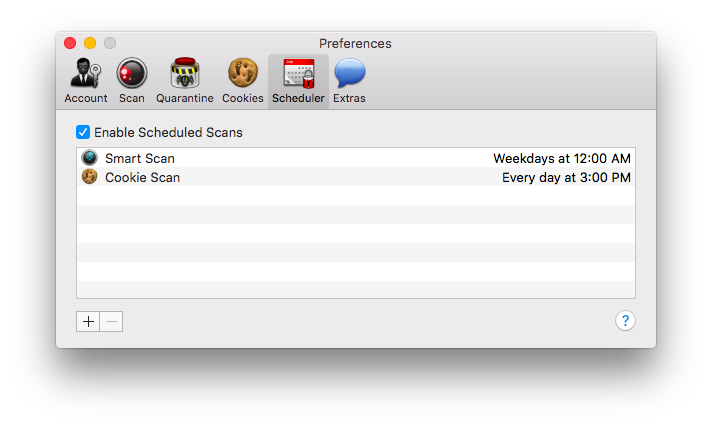 MacScan Preferences: Scheduler