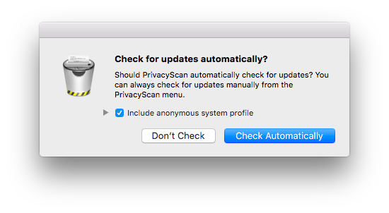 Updating PrivacyScan