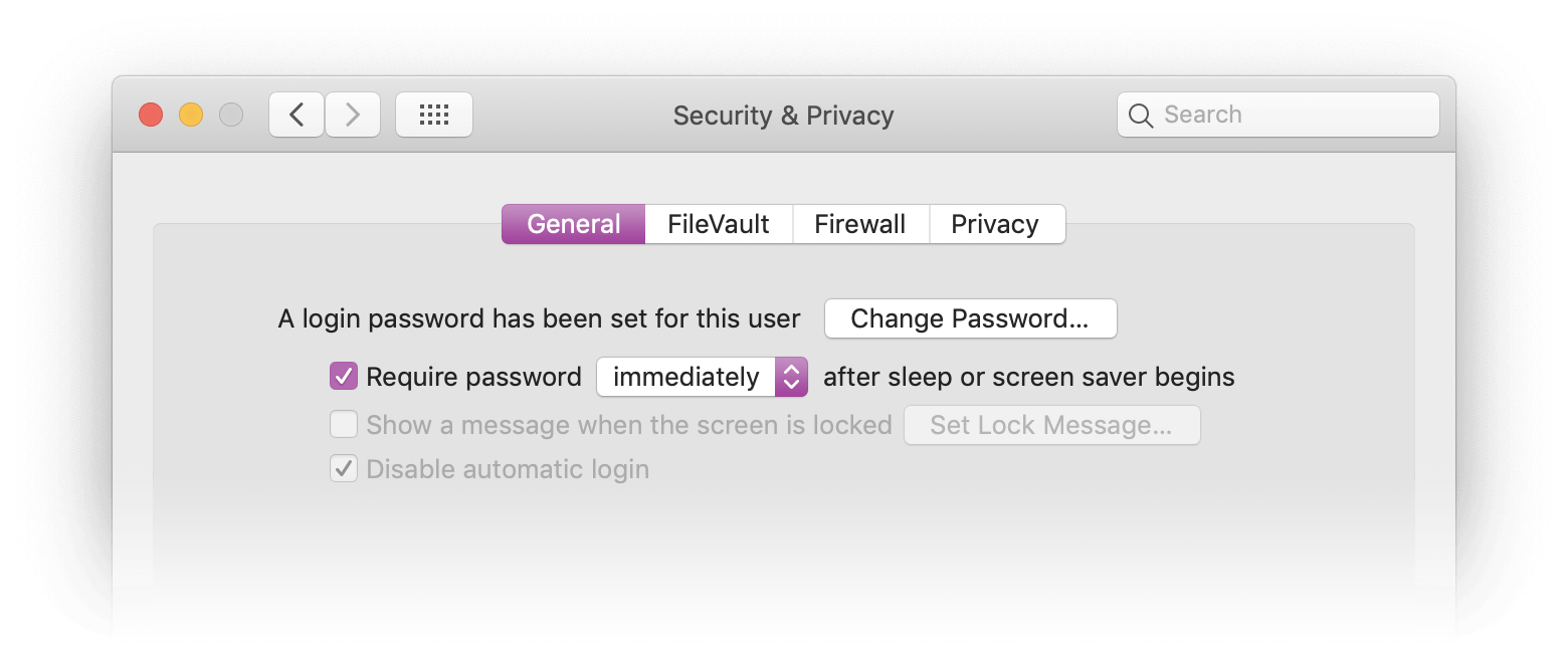 Enabling Screen Saver Password